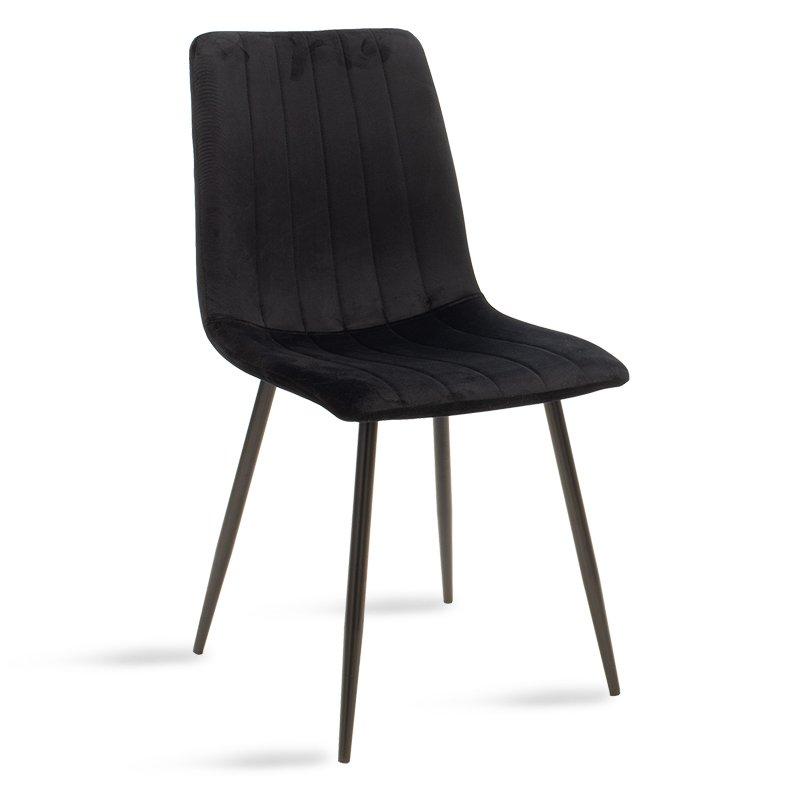 Καρέκλα Noor pakoworld μεταλλική μαύρη με βελούδο μαύρο