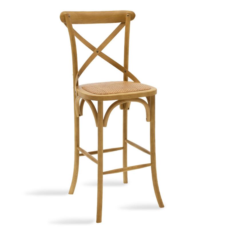 Σκαμπό μπαρ ξύλινο Reid pakoworld χρώμα sonoma-έδρα καφέ rattan 45x52x116εκ