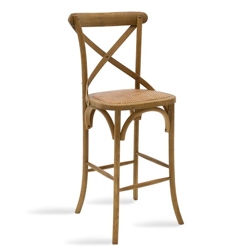 Σκαμπό μπαρ ξύλινο Reid pakoworld χρώμα ανοικτό καρυδί-έδρα καφέ rattan 45x52x116εκ