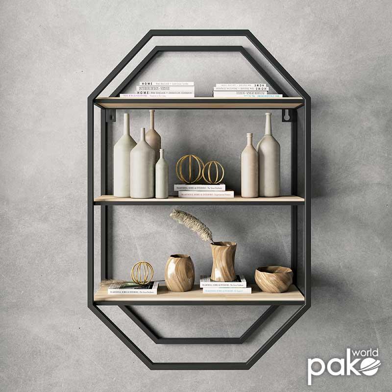 Ραφιέρα τοίχου Azira pakoworld μεταλλική χρώμα μαύρο-φυσικό 40x14x61εκ