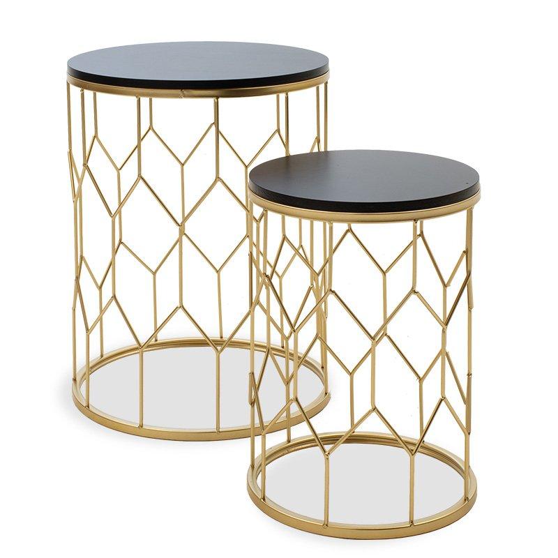 Βοηθητικά τραπέζια σαλονιού Zion II pakoworld σετ 2 τεμ χρυσό-μαύρο 39x39x50εκ