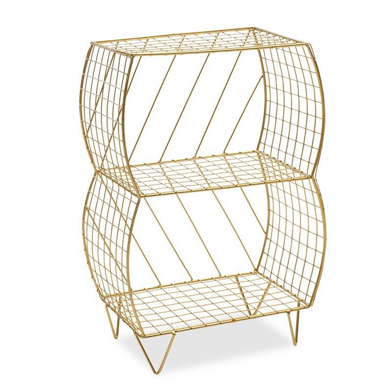 Βοηθητικό τραπέζι σαλονιού Mambo pakoworld μεταλλικό χρυσό 35x20x51εκ