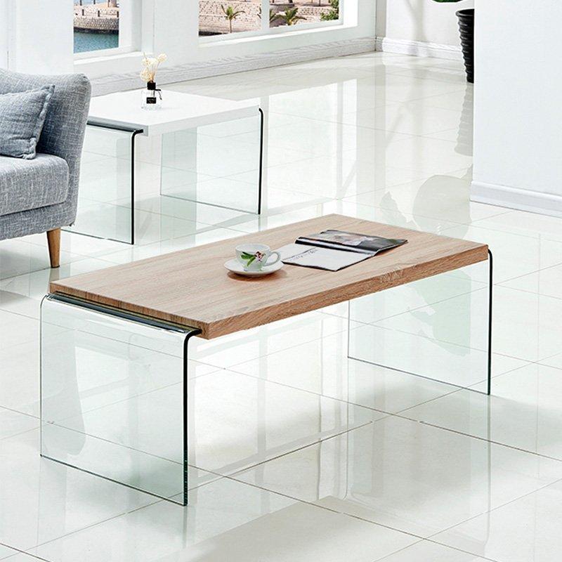 Τραπέζι σαλονιού Brooklyn pakoworld γυαλί 12mm - MDF sonoma 110x55x40εκ