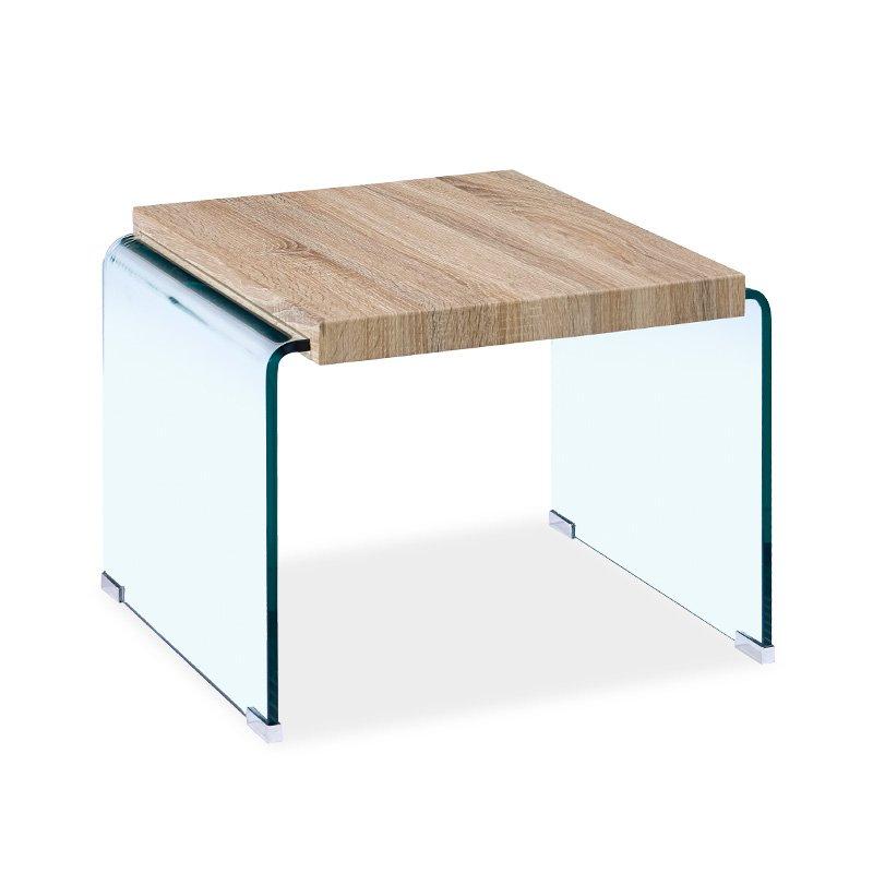 Βοηθητικό τραπέζι σαλονιού Brooklyn pakoworld γυαλί 12mm - MDF sonoma 55x55x40εκ
