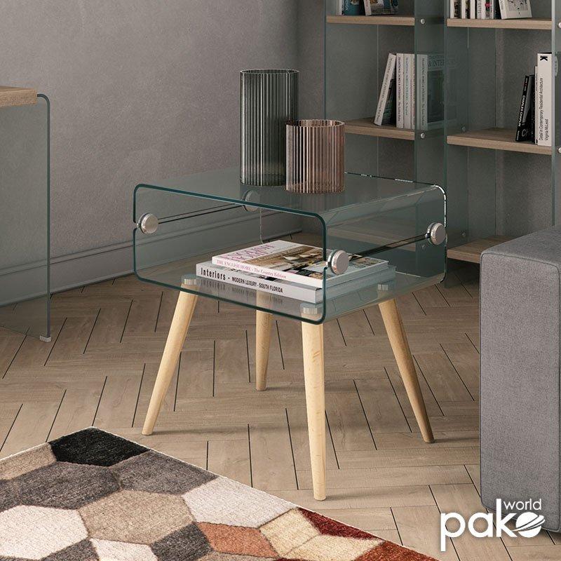 Βοηθητικό τραπέζι σαλονιού Lemmy pakoworld γυαλί 10mm - sonoma 55x40x55εκ