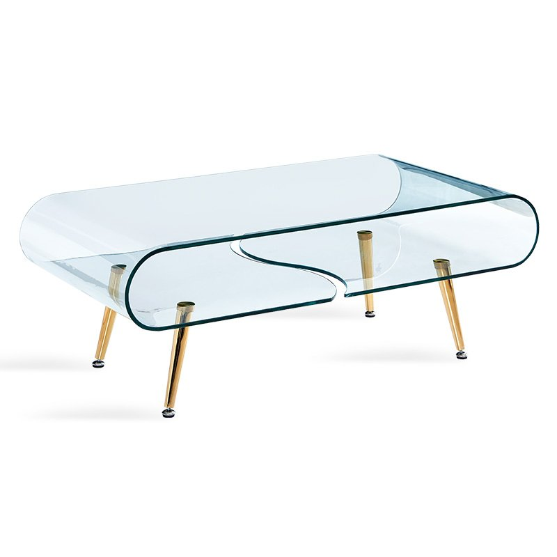 Τραπέζι σαλονιού Gusto pakoworld γυαλί 10mm - πόδια χρυσό 120x60x45εκ