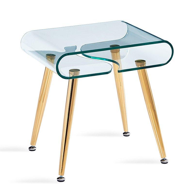 Βοηθητικό τραπέζι σαλονιού Gusto pakoworld γυαλί 10mm - πόδια χρυσό 50x40x50εκ