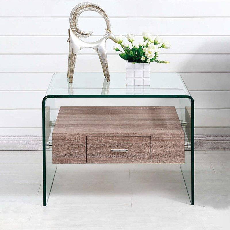 Βοηθητικό τραπέζι σαλονιού Misa pakoworld γυαλί 12mm - MDF oak 55x50x42εκ