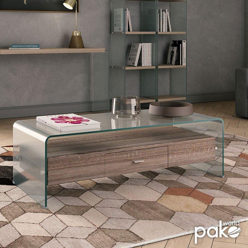 Τραπέζι σαλονιού Misa pakoworld γυαλί 12mm - MDF oak 110x55x35εκ