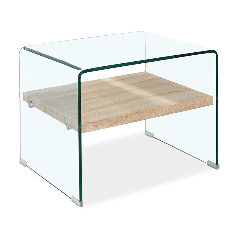 Βοηθητικό τραπέζι σαλονιού Compton pakoworld γυαλί 12mm - MDF sonoma 63x50x48εκ