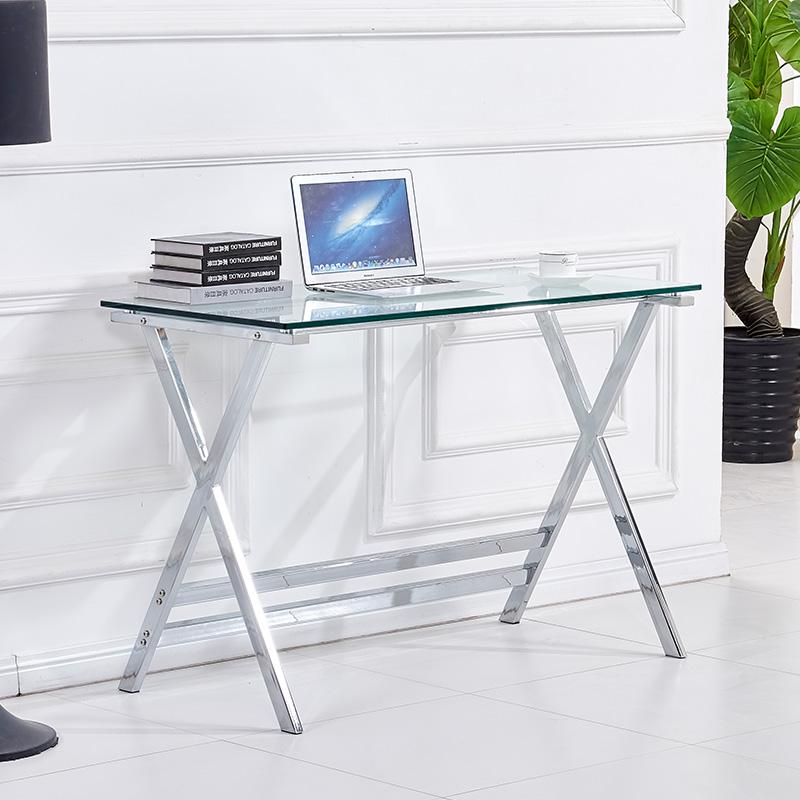 Γραφείο Vision pakoworld γυαλί 10mm - INOX πόδι 110x55x76εκ