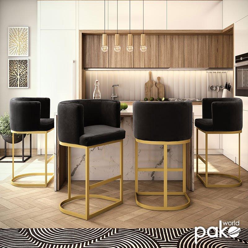Σκαμπό μπαρ Viv pakoworld μεταλλικό χρυσό-βελούδο μαύρο 54x50x95εκ