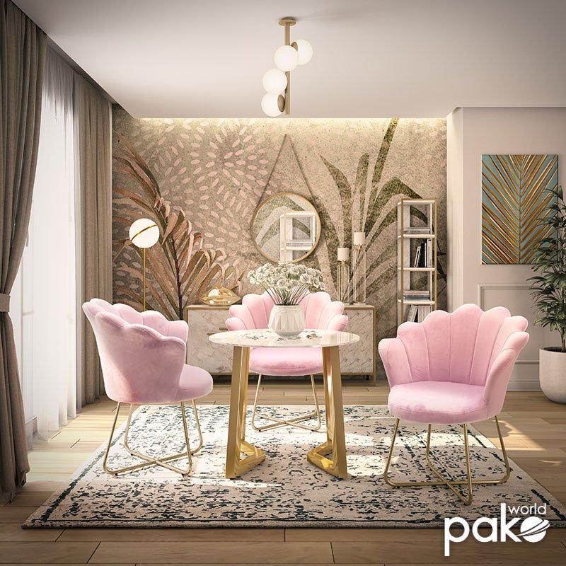 Πολυθρόνα Evi pakoworld με βελούδο χρώμα μωβ-ροζ 73x62x87εκ