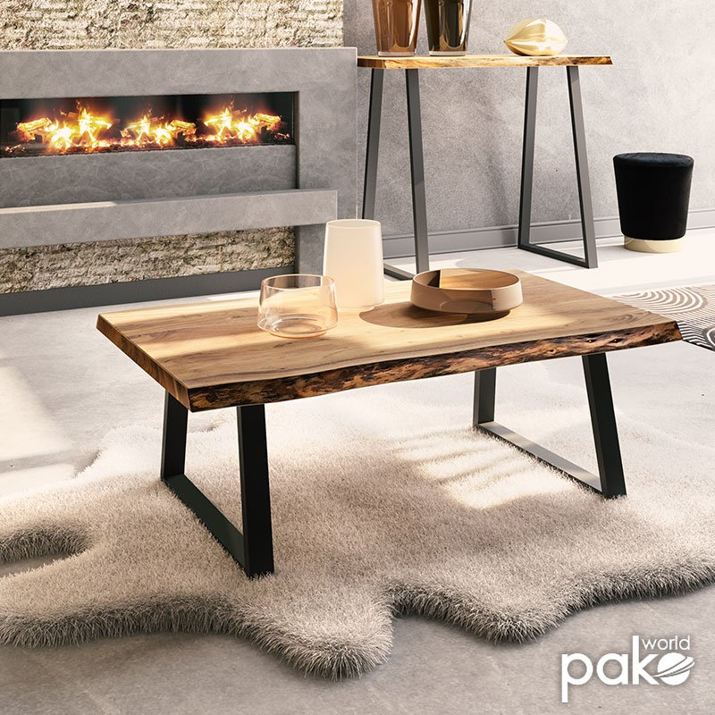Τραπέζι σαλονιού Miles pakoworld μασίφ ξύλο 4εκ καρυδί-πόδι μαύρο 115x72x41εκ