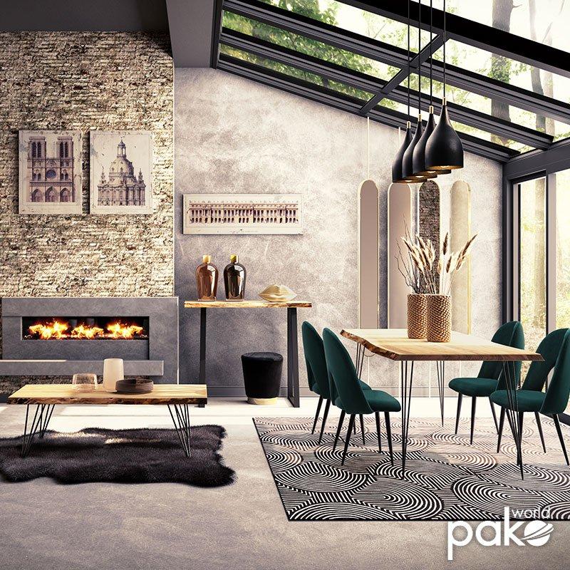Τραπέζι μπαρ-κονσόλα Miles pakoworld μασίφ ξύλο 4εκ καρυδί-πόδι μαύρο 120x53x97εκ