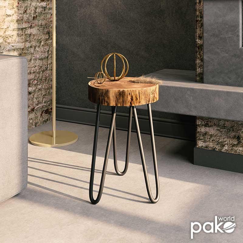 Βοηθητικό τραπέζι σαλονιού Tripp pakoworld μασίφ ξύλο 6,5-7εκ καρυδί-πόδι μαύρο 32x30x47εκ