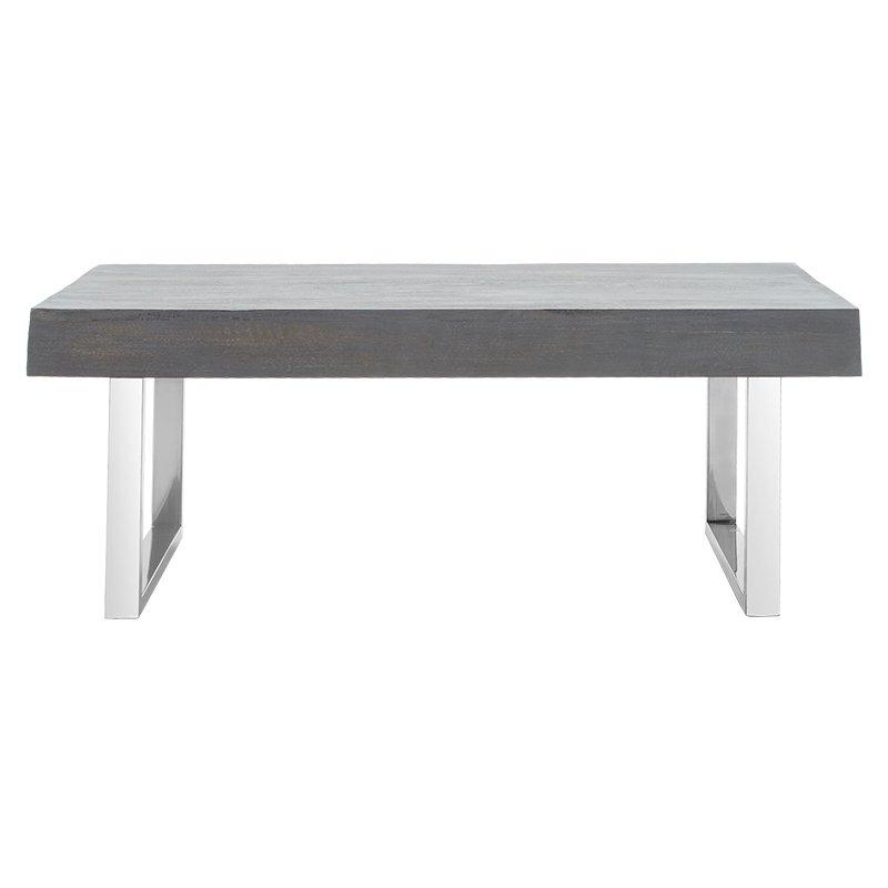 Τραπέζι σαλονιού Falan I pakoworld μασίφ ξύλο 10εκ γκρι antique-πόδι inox 120x60x45εκ