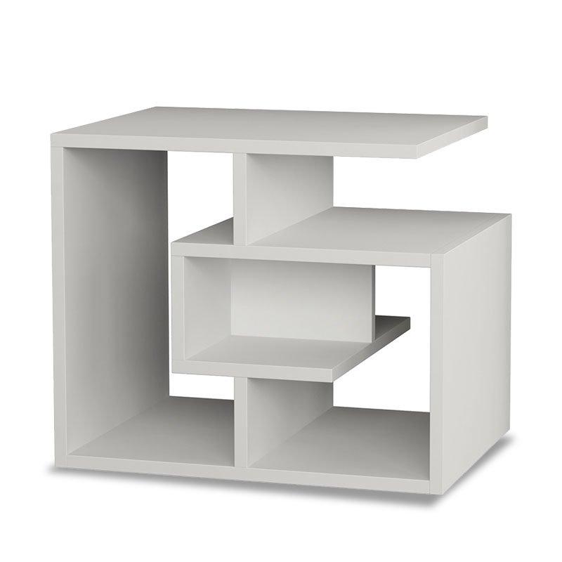 Βοηθητικό τραπέζι σαλονιού Labirent pakoworld χρώμα λευκό 54x40x45εκ