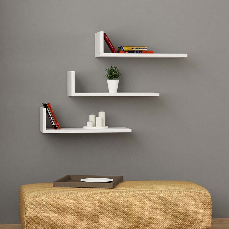 Ραφιέρα τοίχου L-Model pakoworld χρώμα λευκό 50x20x14εκ