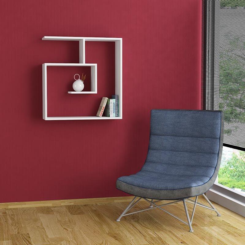 Ραφιέρα τοίχου Laby pakoworld χρώμα λευκό 75x22x78εκ