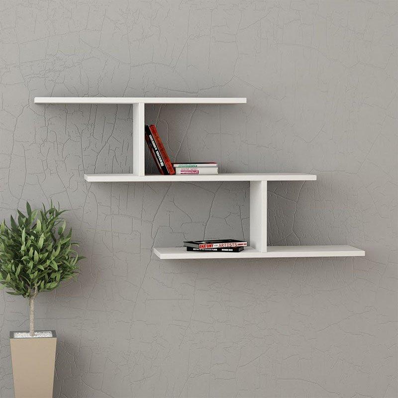 Ραφιέρα τοίχου Misi pakoworld χρώμα λευκό 111x22x54εκ