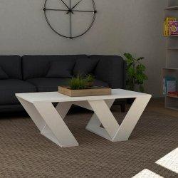 Τραπέζι σαλονιού PIPRA pakoworld σε χρώμα λευκό 110x60x40