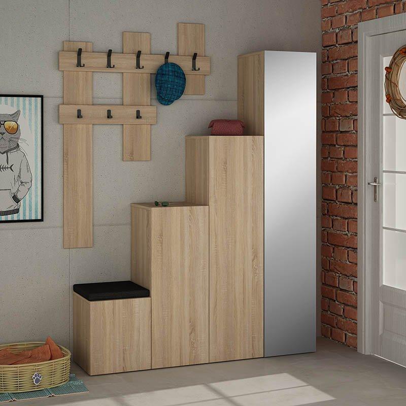 Έπιπλο εισόδου-παπουτσοθήκη UP pakoworld 10 ζεύγων κρεμάστρα-καθρέπτης φυσικό 150x37x180