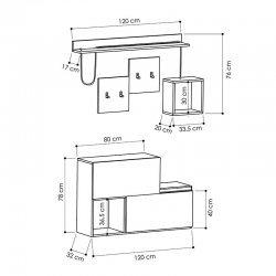 Έπιπλο εισόδου-παπουτσοθήκη HOLDON pakoworld 12 ζεύγων ανθρακί-φυσικό 120x32x78