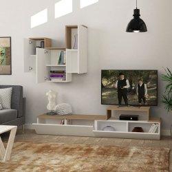 Σύνθετο σαλονιού TIRTIL TV pakoworld σε χρώμα λευκό - φυσικό 180x36x42εκ