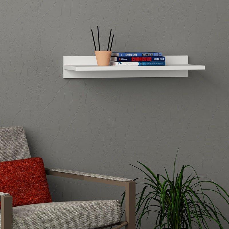Ραφιέρα τοίχου Duz pakoworld χρώμα λευκό 60x22x10εκ