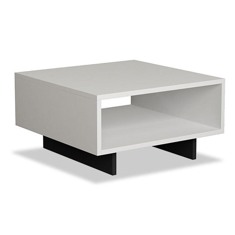 Τραπέζι σαλονιού Hola pakoworld antique λευκό-ανθρακί 60x60x32εκ