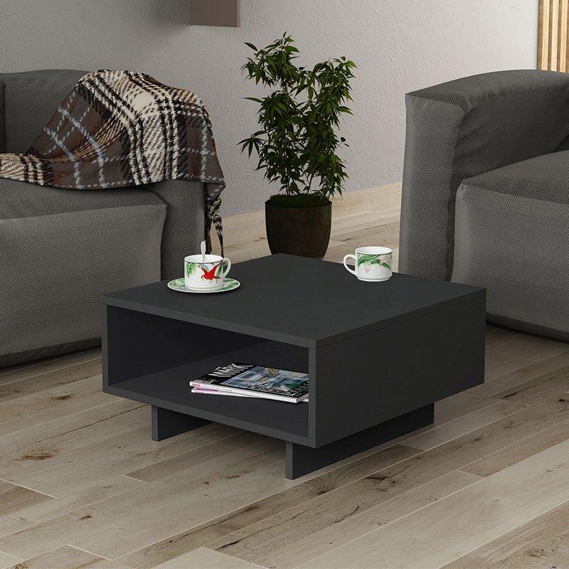 Τραπέζι σαλονιού Hola pakoworld ανθρακί 60x60x32εκ