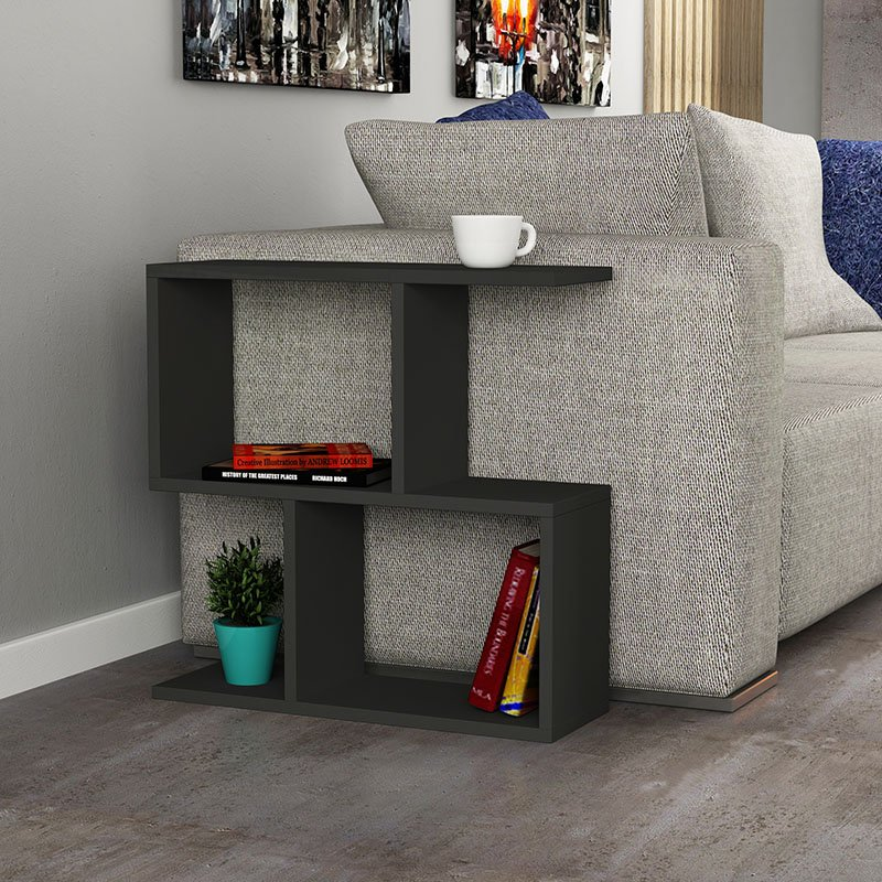 Βοηθητικό τραπέζι Homemania pakoworld χρώμα ανθρακί 60x20x60εκ