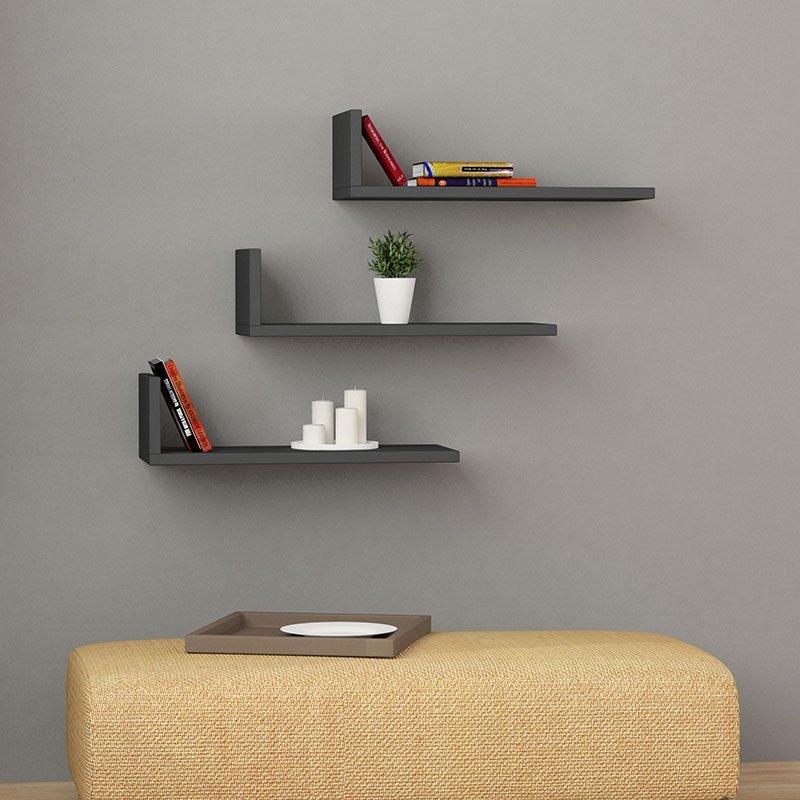 Ραφιέρα τοίχου  L-Model pakoworld χρώμα ανθρακί 50x20x14εκ