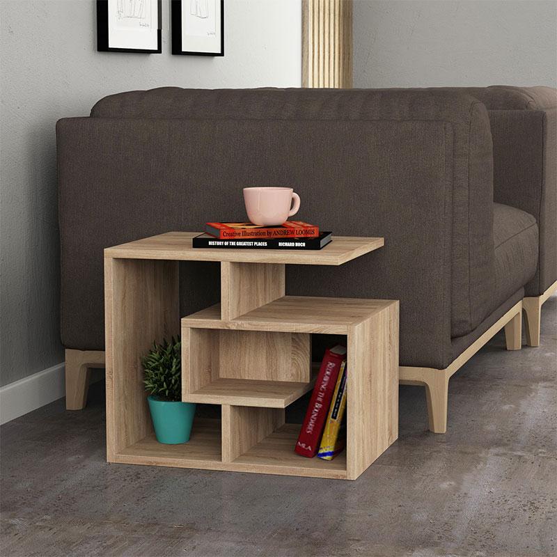 Βοηθητικό τραπέζι σαλονιού Labirent pakoworld χρώμα φυσικό 54x40x45εκ