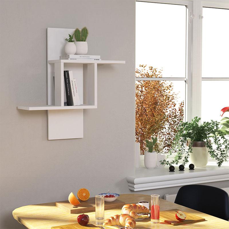 Ραφιέρα τοίχου Mill pakoworld χρώμα λευκό 64x20x70εκ