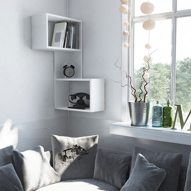 Ραφιέρα τοίχου γωνιακή Part pakoworld χρώμα λευκό 47x20x85,5εκ