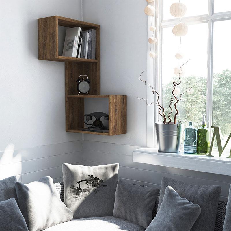 Ραφιέρα τοίχου γωνιακή Part pakoworld χρώμα σκούρο φυσικό 47x20x85,5εκ