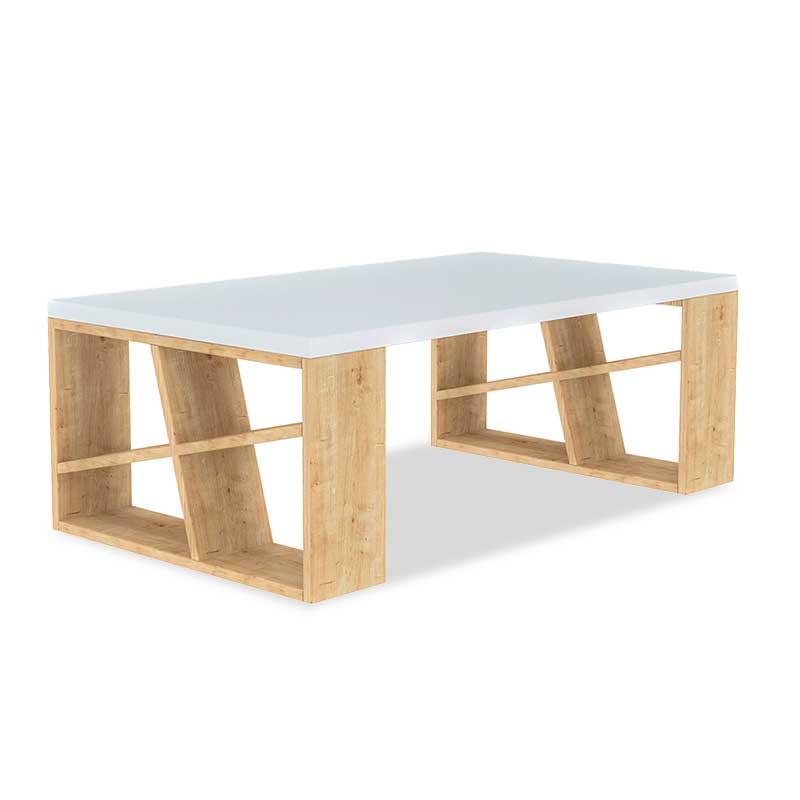 Τραπεζάκι σαλονιού Honey pakoworld χρώμα λευκό - light oak 105x60x40εκ