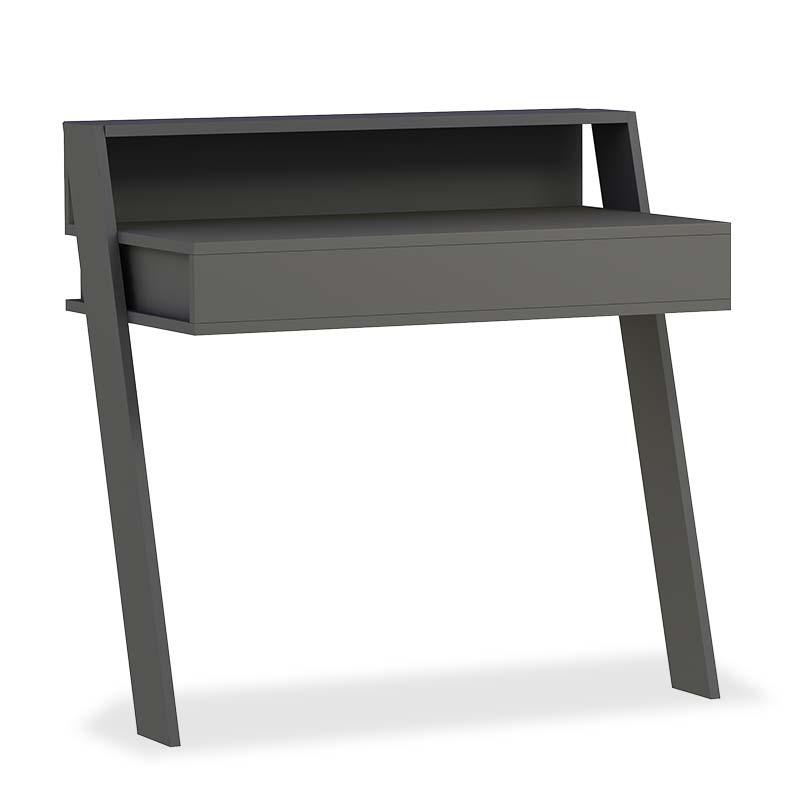 Γραφείο-έπιπλο υποδοχής Cowork pakoworld χρώμα ανθρακί 94x50x91εκ