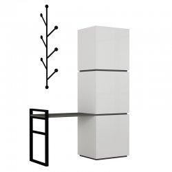 Έπιπλο εισόδου-Πορτ Μαντώ Mello pakoworld χρώμα λευκό - ανθρακί 109x39x149εκ