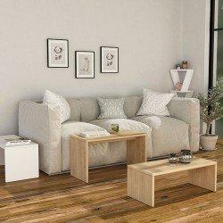 Τραπέζι σαλονιού Kanta pakoworld χρώμα λευκό-φυσικό 65x30x39εκ