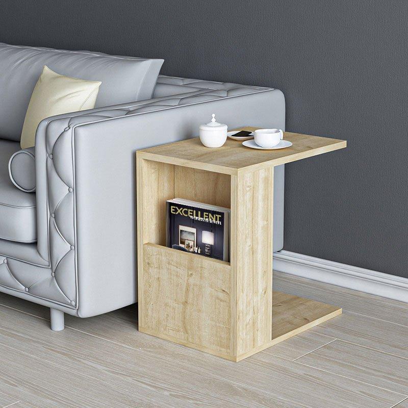 Βοηθητικό τραπέζι σαλονιού Zane pakoworld χρώμα φυσικό 40x30x50εκ