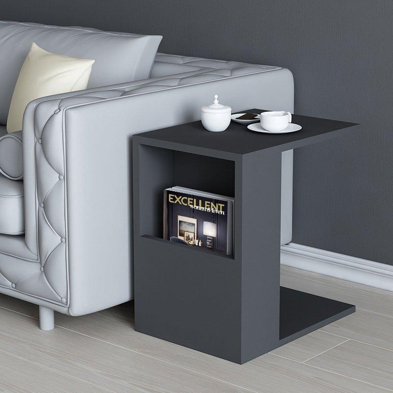 Βοηθητικό τραπέζι σαλονιού Zane pakoworld χρώμα ανθρακί 40x30x50εκ