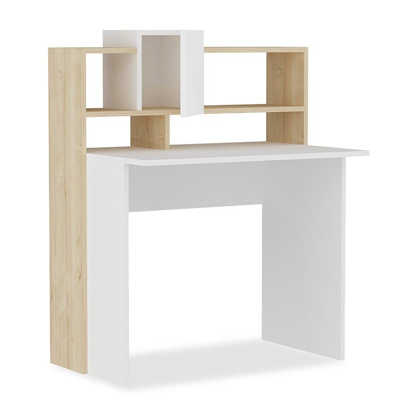 Γραφείο με ραφιέρα Tales pakoworld χρώμα λευκό-φυσικό 93,5x60x118εκ