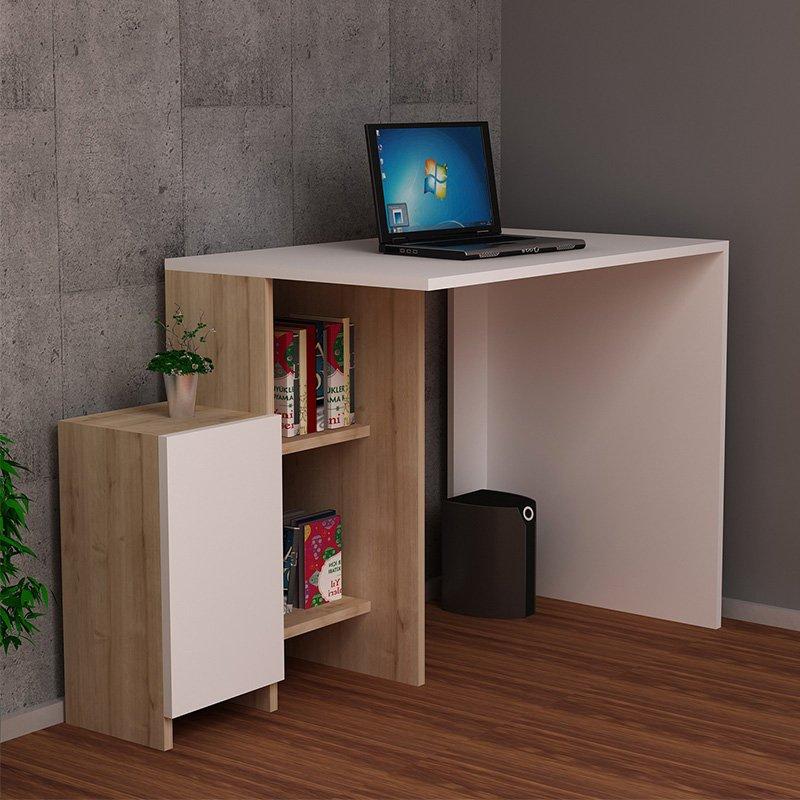 Γραφείο με ραφιέρα Kely pakoworld χρώμα λευκό-φυσικό 113x55x74εκ