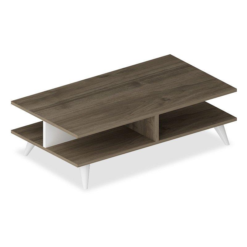Τραπέζι σαλονιού Isabel pakoworld χρώμα καρυδί-λευκό 90x50x27,5εκ