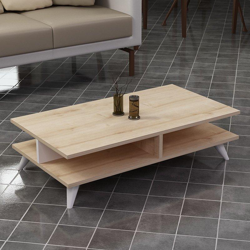 Τραπέζι σαλονιού Isabel pakoworld χρώμα φυσικό-λευκό 90x50x27,5εκ