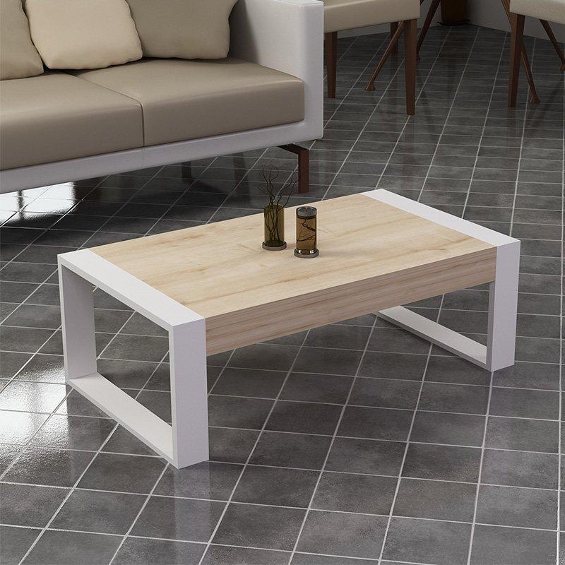 Τραπέζι σαλονιού Rima pakoworld χρώμα λευκό-φυσικό 90x50x40εκ