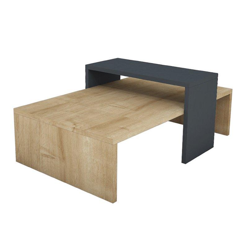 Τραπέζι σαλονιού Glow pakoworld χρώμα φυσικό-ανθρακί 80x50x32εκ